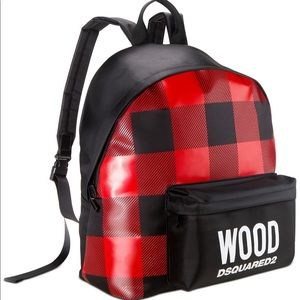 Wood Dsquared2 red and black backpack
